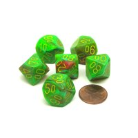 Vortex 16mm Tens D10 (00-90) Chessex Dice, 6 Pieces - Slime with Yellow Numbers
