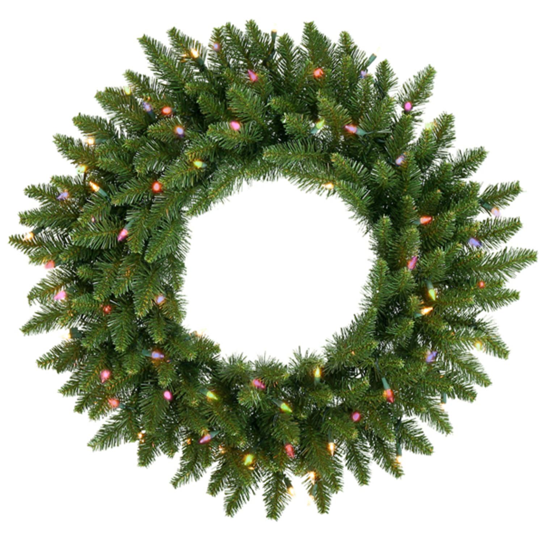 """24"""" Pre-Lit Camdon Fir Artificial Christmas Wreath - Multi Lights"""