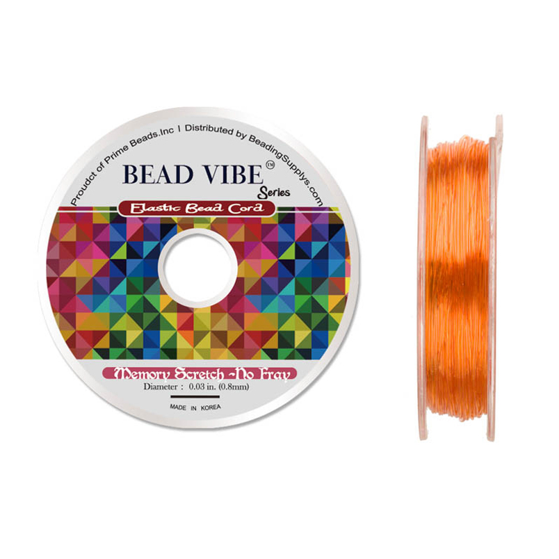 Elastic Bead Cord, Beadvibe Series Memory Stretch Non Fray, Orange 0.8mm Diameter 82ft