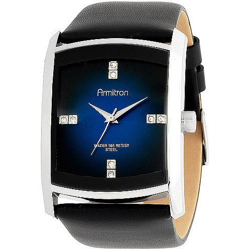 Armitron Men's Dress Sport Watch, Black Leather Strap
