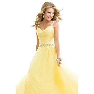 Women Wedding Prom Dresses Decorated with Sequin Long Length Gown Dress (Yellow Prom Gown)
