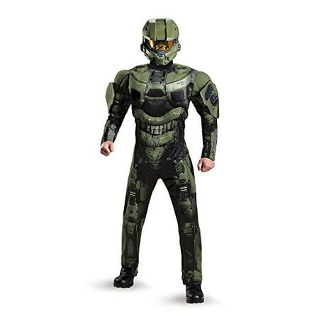 Disguise Mens Halo Deluxe Muscle Master Chief Adult Costume Green XX-Large](Green Muscle Suit)