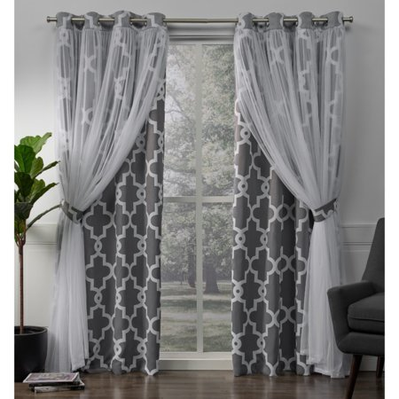 Exclusive Home Curtains 2 Pack Alegra Layered Geometric Blackout and Sheer Grommet Top Curtain Panels