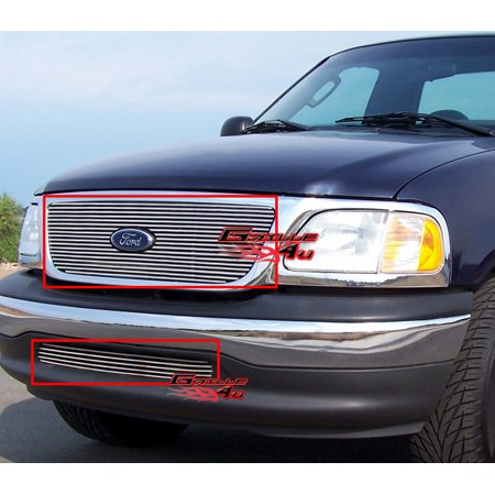 Compatible with 1999-2003 Ford F-150 F150 2WD Billet Grille Combo F67696A 2wd Chrome Grille