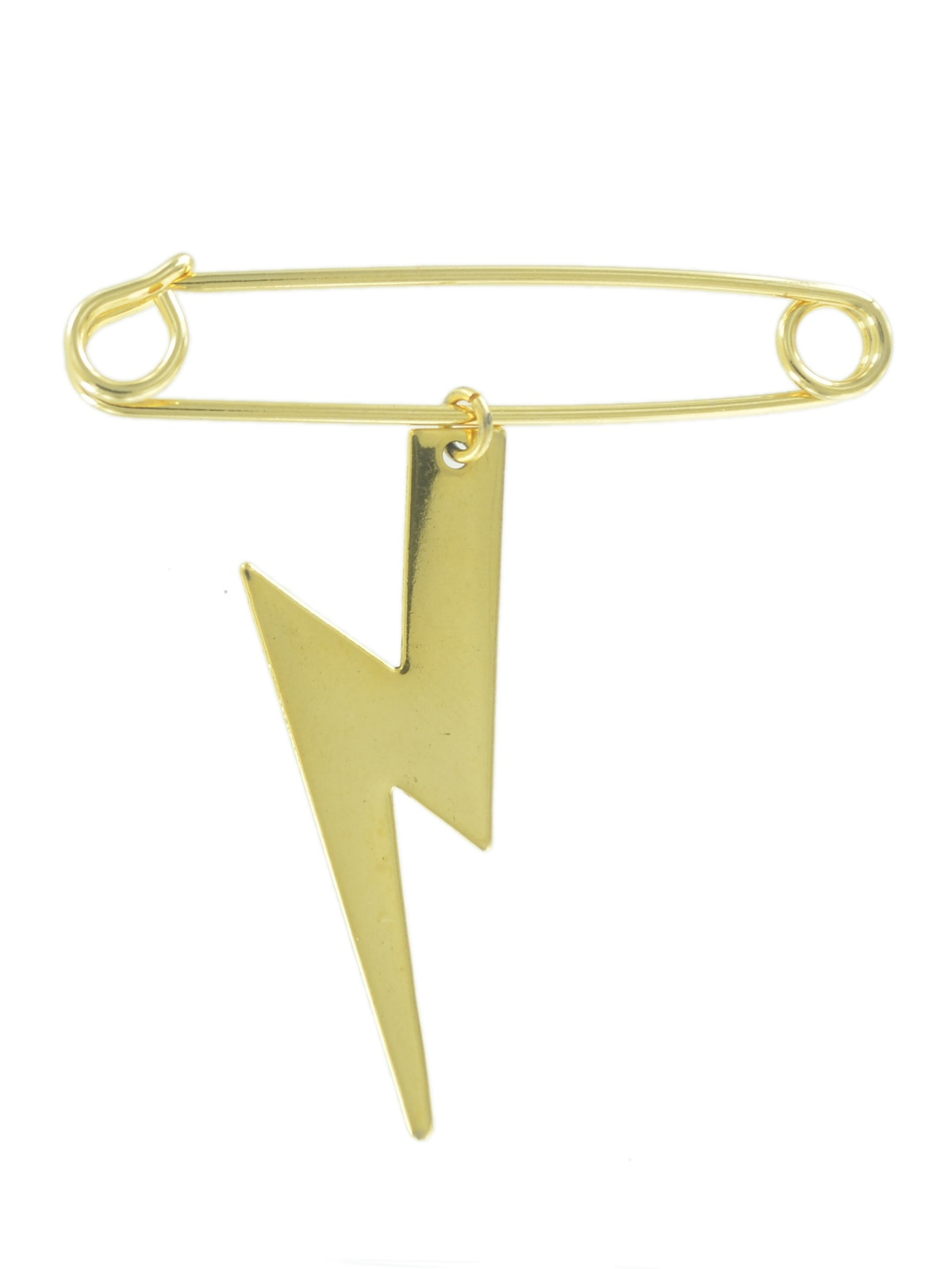 "Safety Pin Brooch 2"" Gold Tone Lightning Bolt Weather Charm Dangle Middle by Ky & Co"
