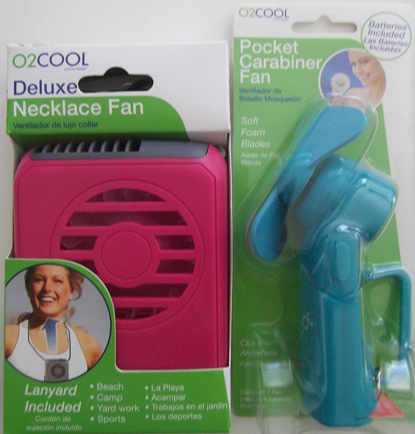 O2 Cool Fan, Deluxe Necklace Fan and Pocket Carabiner Fan with batteries, O2Cool Pocket Carabiner Fan with batteries - Model FP02001B - Assorted Color By O2COOL