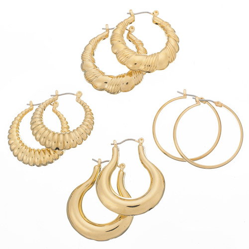 Gold Tone Fashion Hoop Earrings, 4 Pairs