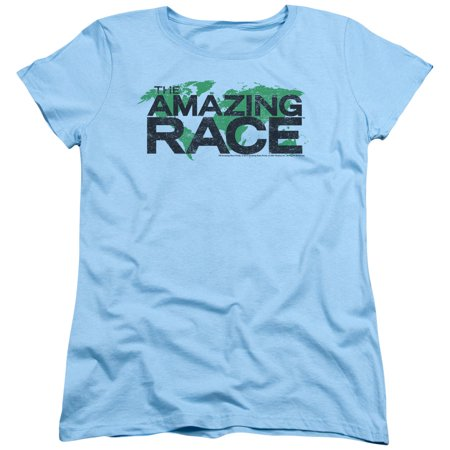 The Amazing Race Reality Game Show Distressed Map Logo Women's T-Shirt Tee