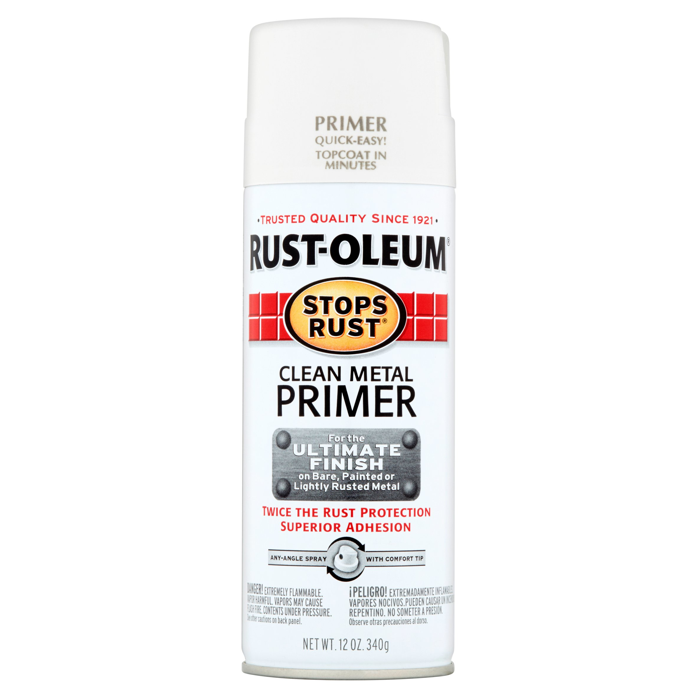 Rust-Oleum 7780830 Stops Spray Paint 12-Oz Flat White Clean Metal Primer Home Im