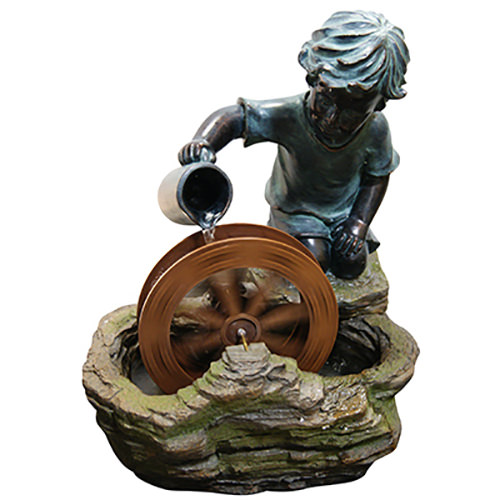 Alpine Polyresin Fountain w  Boy and a Wheel, 20 Inch Tall by ALPINE CORPORATION