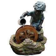 Alpine Polyresin Fountain with Boy and a Wheel, 20 Inch Tall