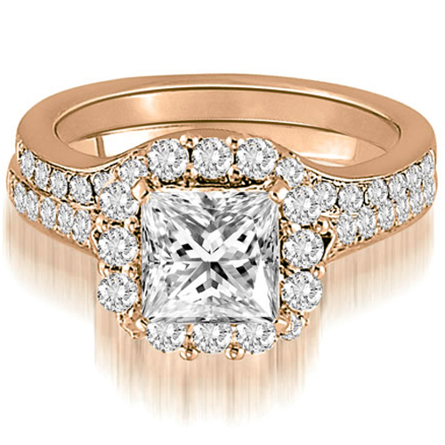 1.02 CT.TW Halo Princess And Round Cut Diamond Bridal Set in 14K White, Yellow Or Rose Gold