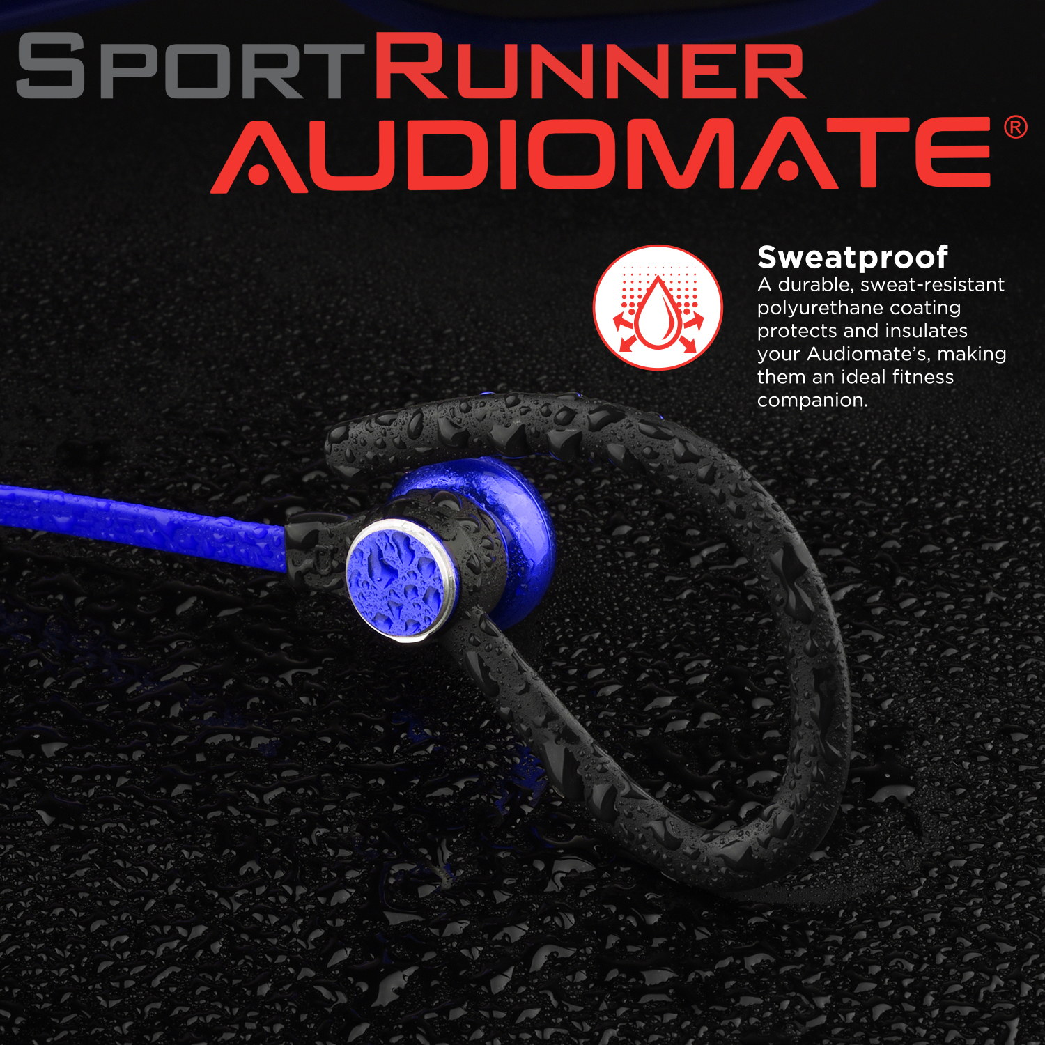 125e65dae57 audiomate s12 slim sweatproof wireless bluetooth 4.1 headphones sports  headset, lightweight hd stereo earbuds with magnetic connection and  built-in mic ...