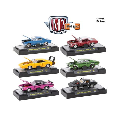 Detroit Muscle 6 Cars Set Release 35 IN DISPLAY CASES 1/64 Diecast Model Cars by M2 Machines ()