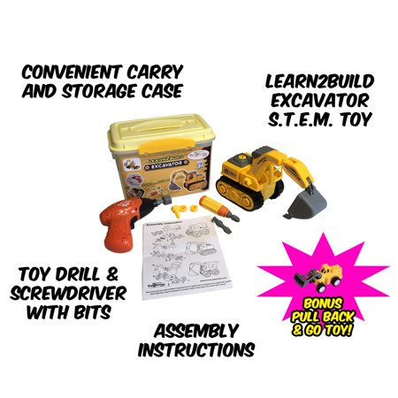Take Apart Excavator STEM Toy for 3-7 Year Olds - Comes with a BONUS Pull Back and Go Toy! Yellow Construction Excavator with 27 Pieces. Includes Light Up Toy Drill and Screwdriver +