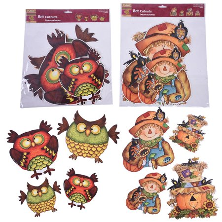 Thanksgiving Whimsical Owl and Scarecrow Cutouts by FLOMO](Owl Cutouts)