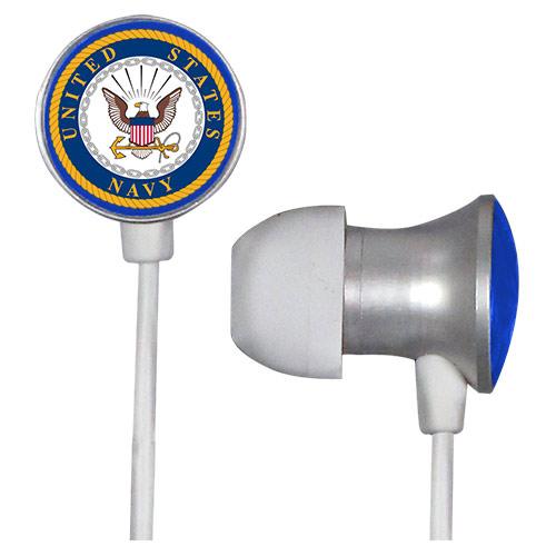 U.S. NAVY Scorch Earbuds + Mic with BudBag - White