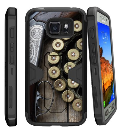 Samsung Galaxy [ S7-ACTIVE model] G891A Dual Layer Shock Resistant MAX DEFENSE Heavy Duty Case with Built In Kickstand - Shotgun with (Best Home Defense Shotgun Ammo)
