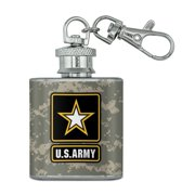 U.S. Army Logo on Camo Stainless Steel 1oz Mini Flask Key Chain