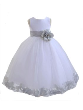 Product Image Ekidsbridal Satin White Silver Tulle Petal Christmas Party  Bridesmaid Recital Easter Holiday Wedding Pageant Communion Princess 2dbe249950d6