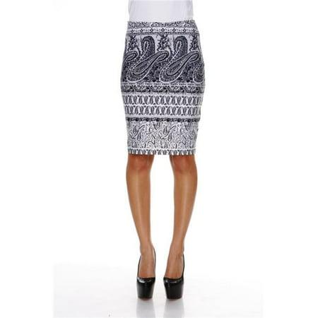 Ladies Column (White Mark 718-114-S Women Polyester Graystone Columns Paisley Print Victoria Pencil Skirt, Grey - Small )