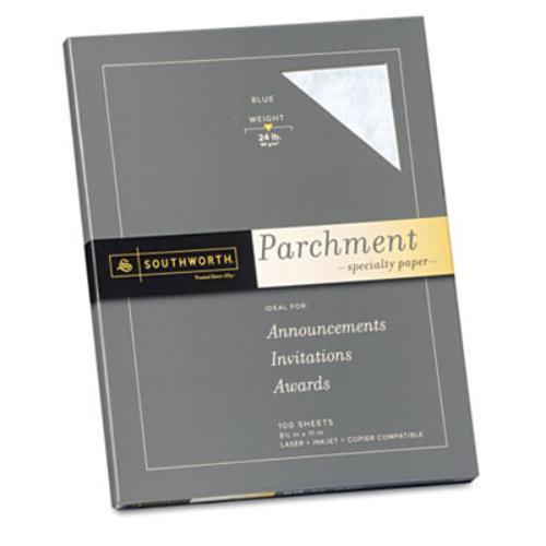 """Southworth P964CK Parchment Paper - For Laser, Inkjet Print - Letter - 8.50"""" x 11"""" - 24.00 lb - Parchment - 100 Sheet - Blue"""