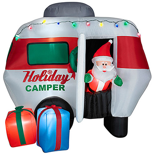 5.6'H Animated Airblown Inflatable Santa in Camper