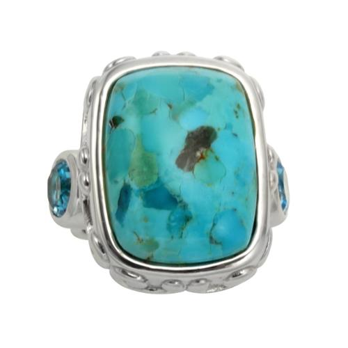 Sterling Silver 13.4ct 20x15mm Turquoise and Blue Topaz Ring Size 5
