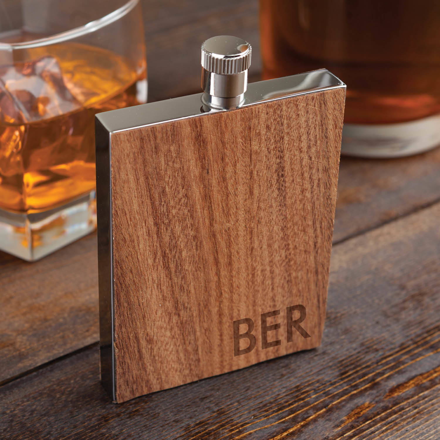 My Personalized Or Monogram Wood Flask