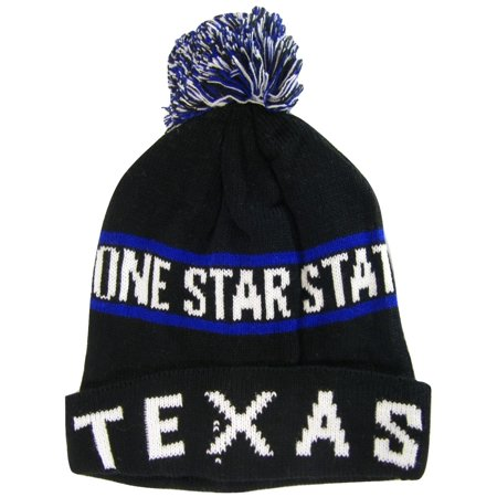 Texas Lone Star State Adult Size Winter Knit Pom Beanie Hats (Black/Royal)