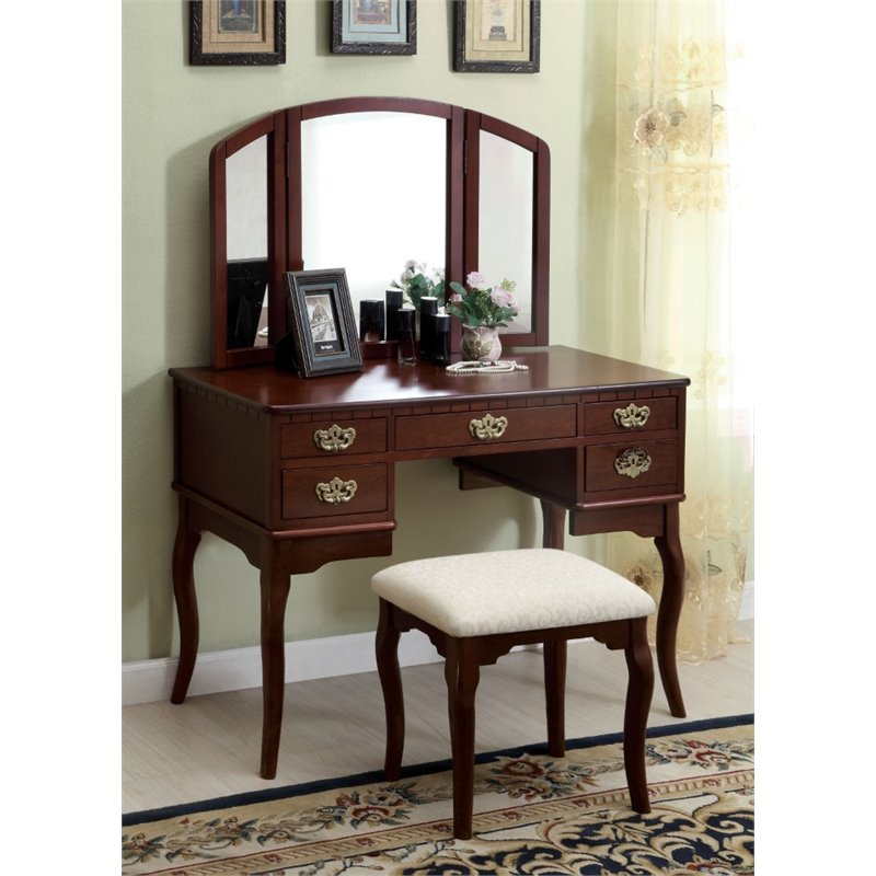 Furniture of America Coriander 3-Sided Mirror Vanity Set in Cherry