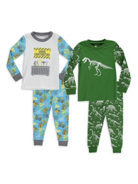 Sol Sleep Baby & Toddler Boys Long Sleeve Snug Fit Cotton Pajamas, 4pc Set (12M-4T)