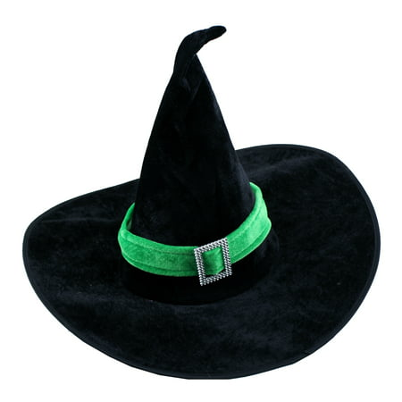 Creative Green Velour Witch Hat for Halloween Fancy Dress Costumes - Elegant Witch Costume