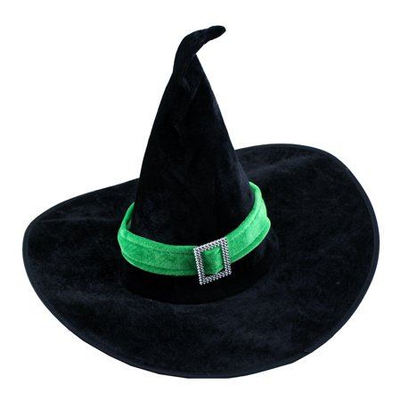 Creative Green Velour Witch Hat for Halloween Fancy Dress (Fancy Dress 20's Costumes)