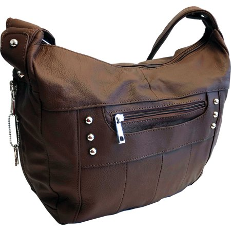 Leather Locking Concealment Purse - CCW Concealed Carry Gun Handbag, Ambidextrous, Brown