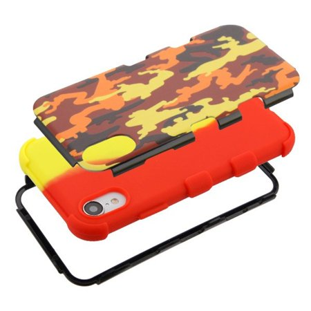 Insten Tuff Fall Camouflage Dual Layer [Shock Absorbing] Hybrid Hard Plastic/Soft TPU Rubber Case Cover For Apple iPhone XR, Red/Yellow - image 2 of 5