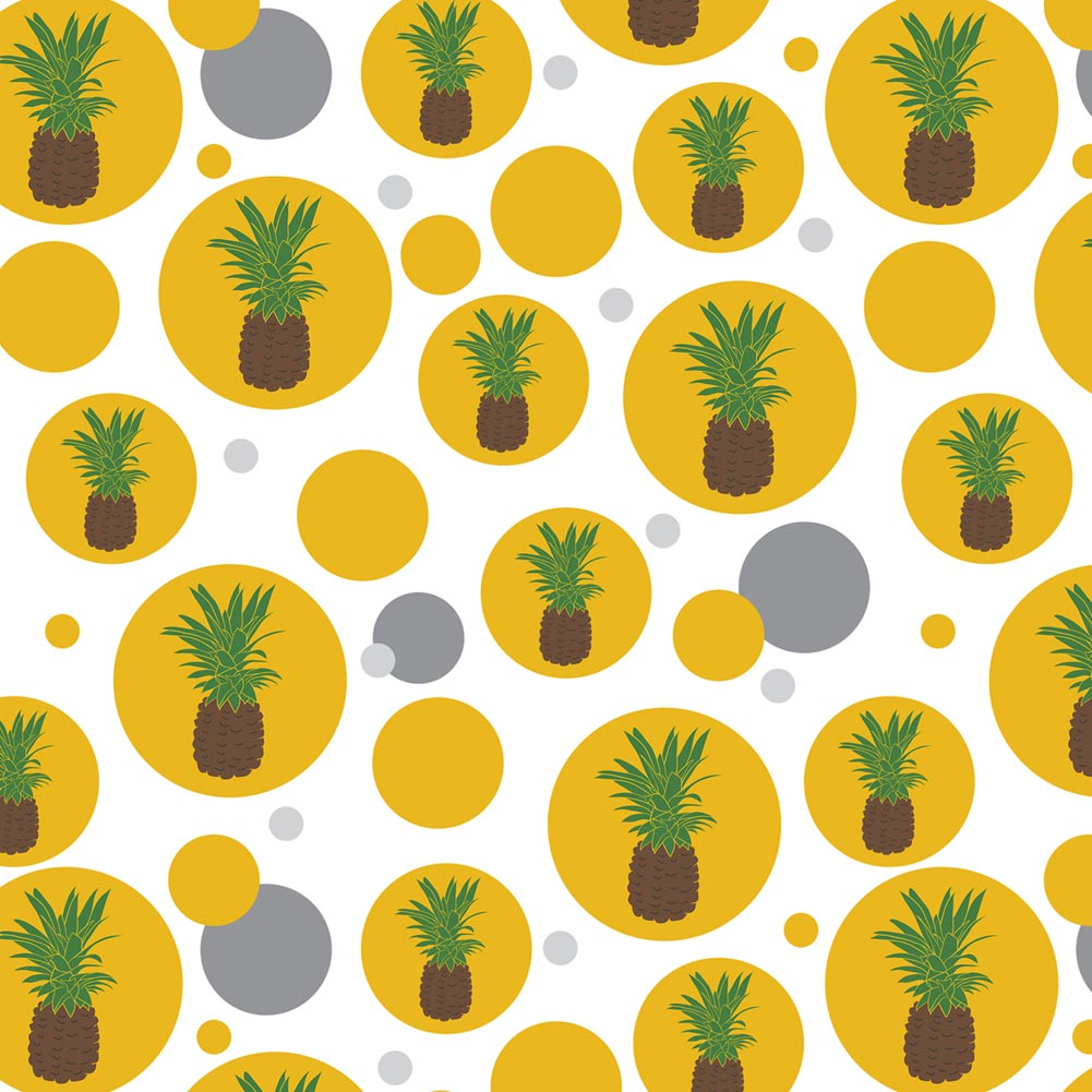 Pineapple Fruit Summer Fun Happy Tropical on Yellow Premium Gift Wrap Wrapping Paper Roll Pattern