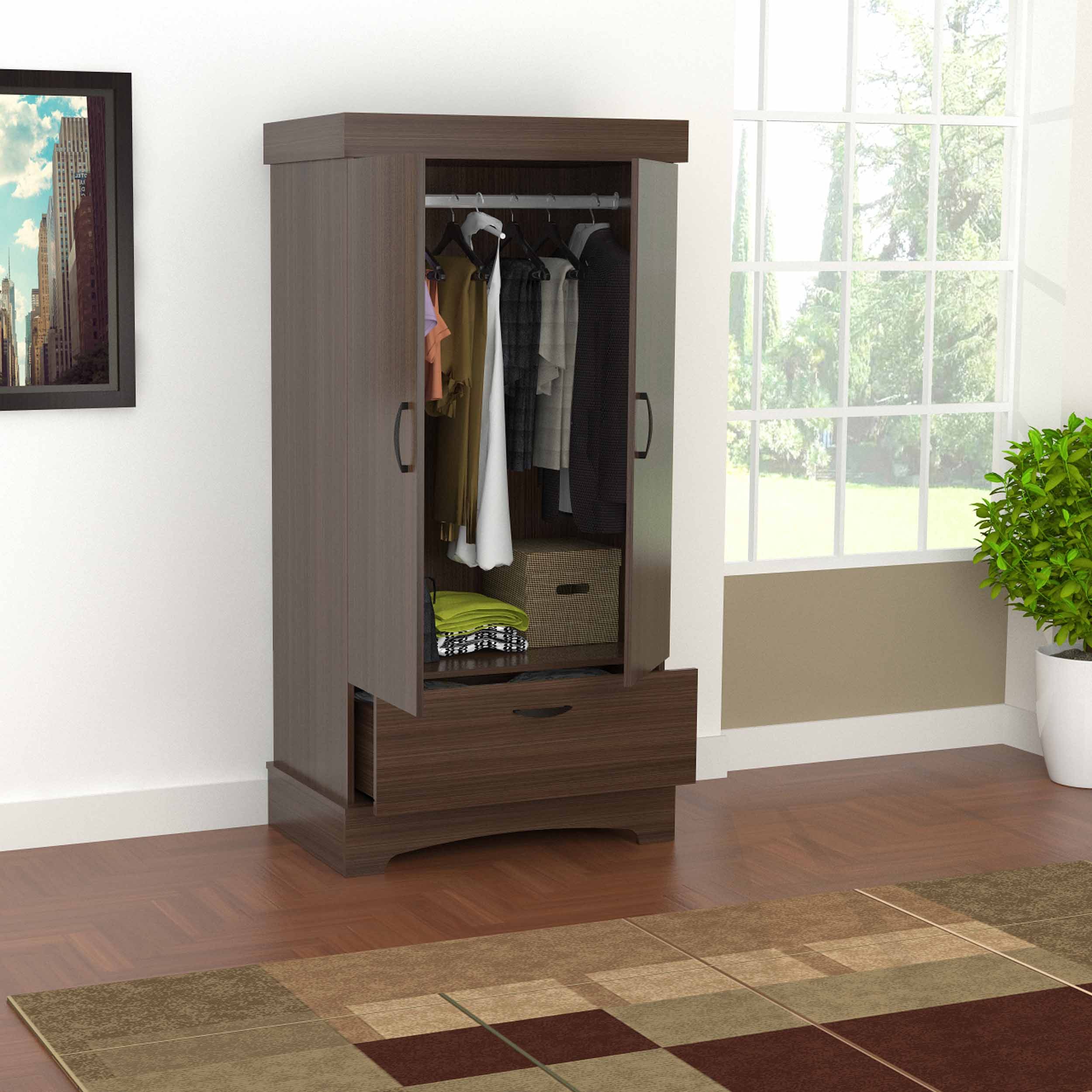 Inval Traditional Brixton/Oak Two Door One Drawer Wardrobe/Armoire