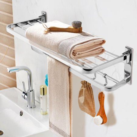 Wall Mounted Double Levels Towel Racks Shelf Bar Holder ...