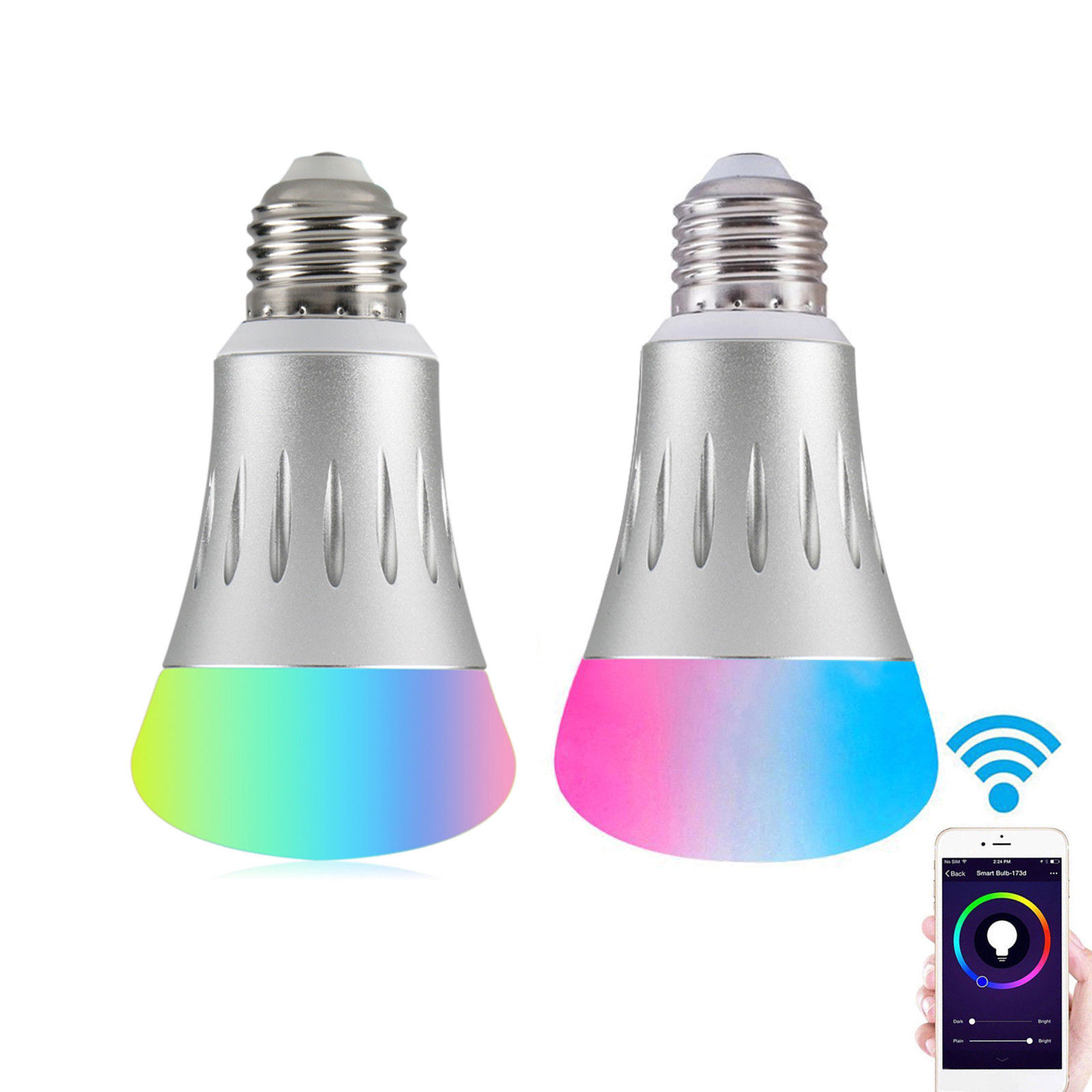 Smart Bulb, EEEKit Wifi Wireless Remote Control 7W E27 LED Light Dimmable Lamp Light for Amazon Echo Alexa, 2-Pack