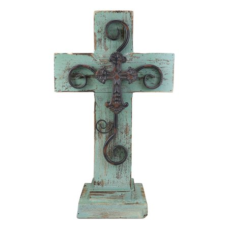 Ebros Gift Rustic Western Distressed Wood Turquoise Blue Standing Cross Statue with Iron Metal Scroll Fleury Cross 3D Art Desktop Plaque Decor Sculpture 16.25