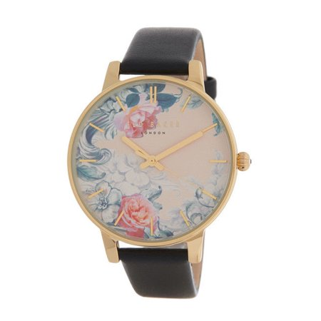 NEW WOMEN'S TED BAKER WOMEN'S CLASSIC FLORAL DIAL BLACK LEATHER STRAP (Classic Field Black Dial)