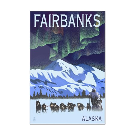 Fairbanks, Alaska - Northern Lights & Dog Sled - Lithograph - Lantern Press Artwork (8x12 Acrylic Wall Art Gallery Quality)