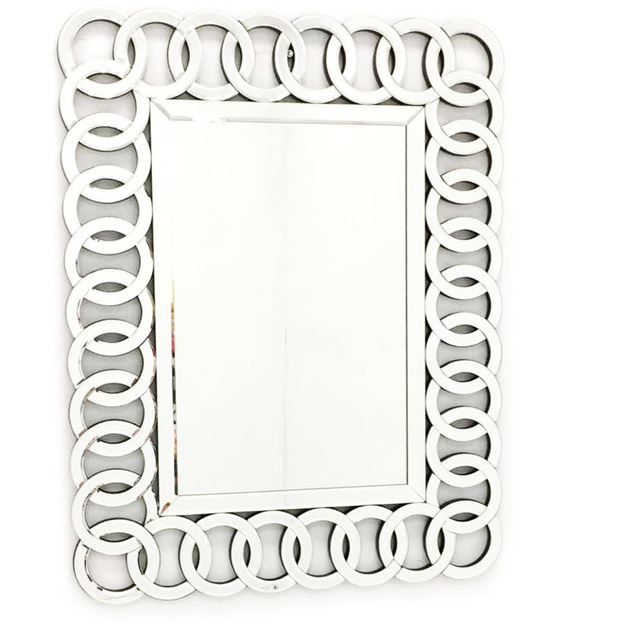"Fab Glass and Mirror THE UNION Decorative Rectangle Wall Mirror Design, 35.5""L x W 27.5"