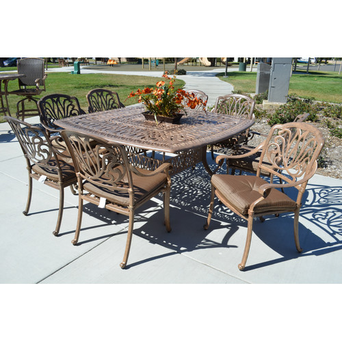 K&B Patio Sicily 9 Piece Dining Set with Cushions