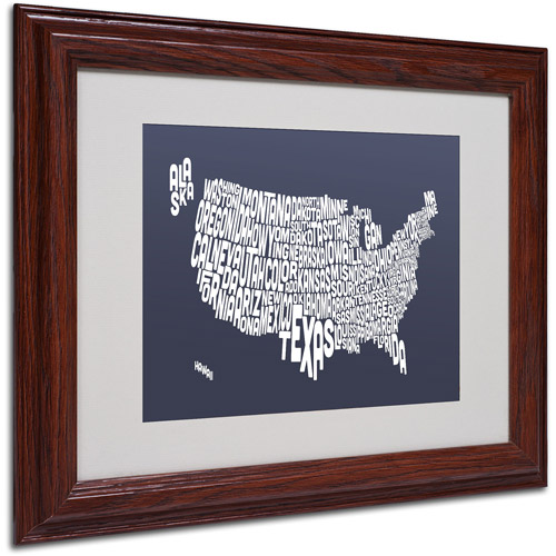 "Trademark Fine Art ""SLATE-USA States Text Map"" Matted Framed by Michael Tompsett"