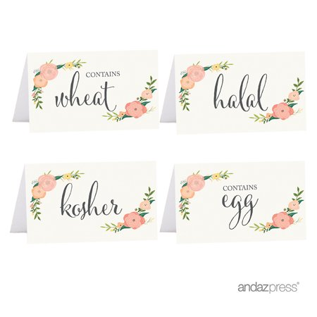 Kosher, Halal, Egg, Wheat  Food Station Buffet Menu Place Cards, Floral Roses, 20-Pack - Easy Halloween Party Food Menu