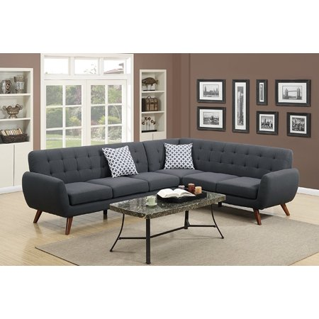 2Pcs Modern Ash Black Polyfiber Linen-Like Fabric Sectional Sofa Set with Clean Lines and Curves and Accent Tufted Back Support for Living Room ()