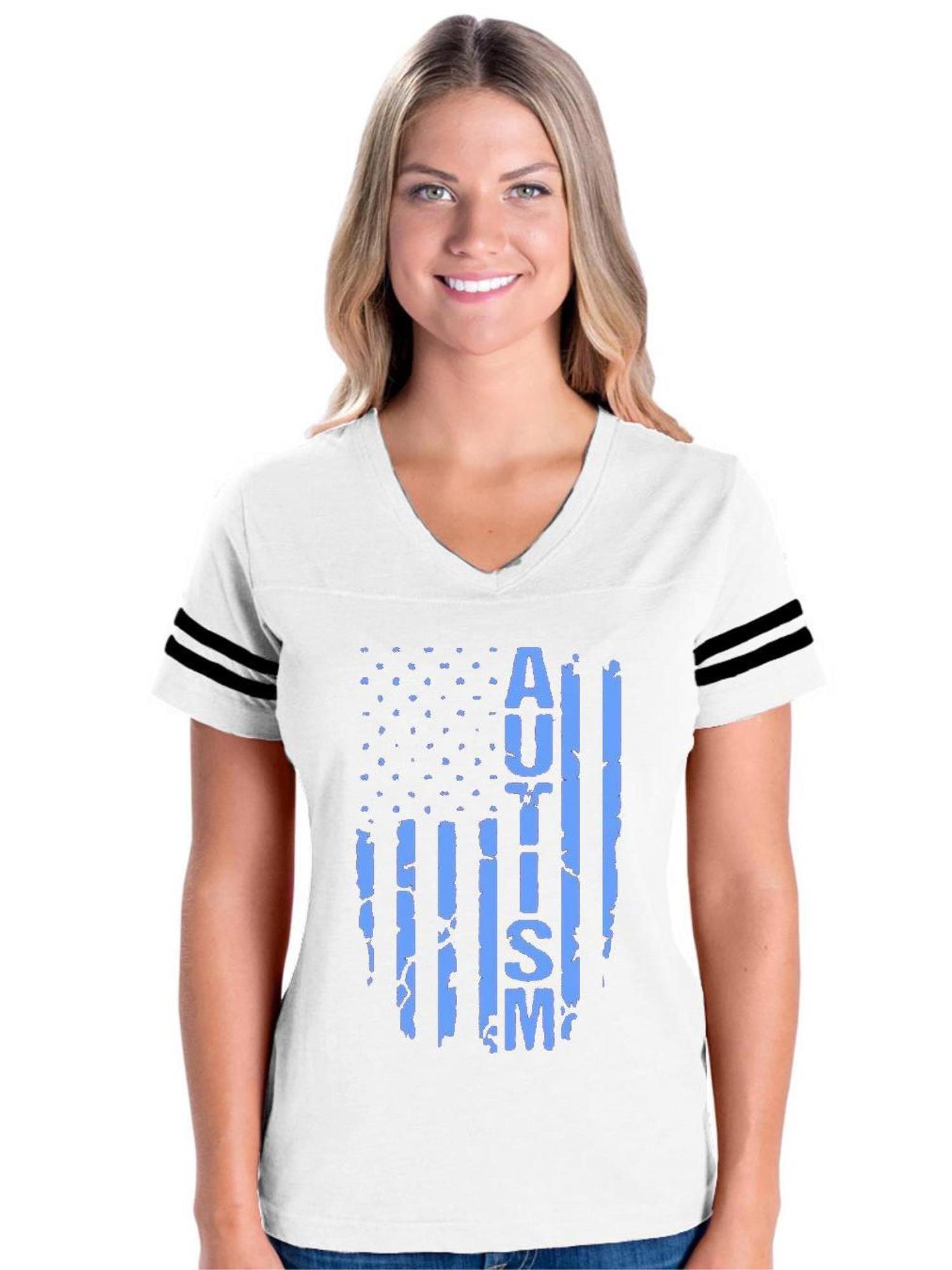 White Autism Flag Women/'s V-Neck T-shirt Autism Awareness Month Tee