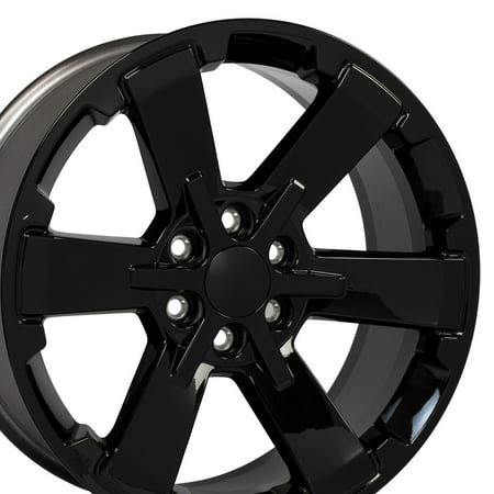 Escalade Drop - OE Wheels 22 Inch Fits Chevy Silverado Tahoe GMC Sierra Yukon Cadillac Escalade Silverado Style Flow Formed CV41 22x9 Rims Gloss Black Hollander 5662